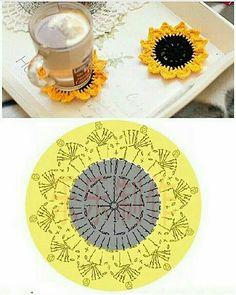 Crochet Leaf Patterns, Crochet Coaster Pattern, Crochet Mandala, Crochet Diagram, Crochet Chart, Crochet Motif, Crochet Designs, Crochet Doilies, Crochet Sunflower