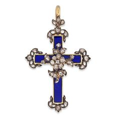 AN EARLY VICTORIAN BLUE ENAMEL AND DIAMOND CROSS IN GOLD - Bentley & Skinner