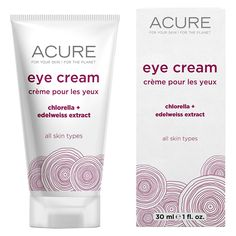 Made with chlorella & edelweiss extract, Acure natural eye cream is perfect for age performance. Edelweiss extract and chlorella provide deep hydration to protect the skin's moisture barrier. you won't believe your eyes. Acure natural eye cream is vegan Organic Eye Cream, Organic Skin Care, Best Drugstore Eye Cream, Acure Organics, Best Eye Cream, Natural Eyes, Natural Beauty, Facial Treatment, Creme