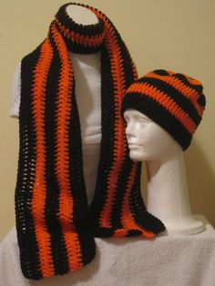 A Lovely handmade Scarf and Beanie Ha t -Black and Orange Stripe...Free Shipping by VansBasicWear on Etsy