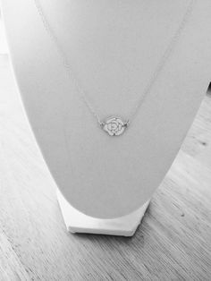 Simple silver rose necklace by AmeliorLLC on Etsy