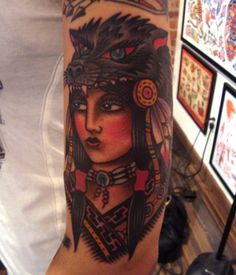 native american woman tattoo   ... native american oldschool tattoo tattoos traditional woman wolf