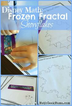 Do your kids love Frozen? Teach them how to make a cool fractal snowflake with a FREE printable and easy tutorial, and learn the math behind… Fun Math Activities, Winter Activities For Kids, Educational Activities For Kids, Math Resources, Math Strategies, Printable Math Worksheets, Free Printables, School Worksheets, Creative Writing Ideas