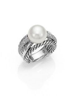 David Yurman Pearl, Diamond & Sterling Silver Ring | More pearls here: http://mylusciouslife.com/pictures-of-pearls-accessories-necklace-bracelets-earrings-rings/
