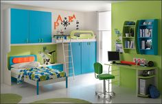 kids room for two children - like the colors here