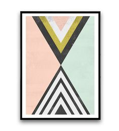Geoemtric abstract watercolor print Abstract print by Wallzilla
