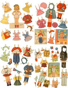 Retro 1940s Children Paper Doll Set 5 Dolls/82 by mindfulresource