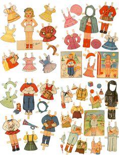 Retro 1940s Children Paper Doll Set 5 Dolls/82 by mindfulresource