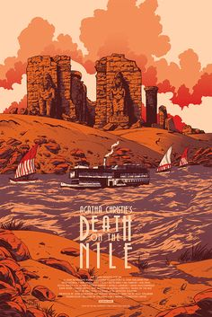 "Black Dragon Press will release a new poster by Johnny Dombrowski for Agatha Christie's Death on the Nile tomorrow. It's a 24"" x 36"" screenprint, has an edition"