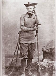 Annie Smith Peck, first woman to climb the Matterhorn wearing pants, in 1895.