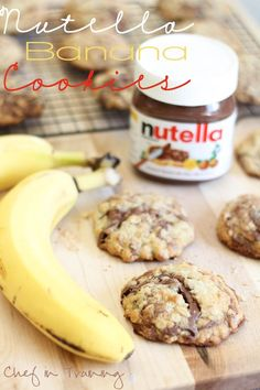 Nutella Banana Cookies--these were so delicious. They actually kinda tasted like breakfast cookies/bars. I would suggest them to any banana/nutella lover! Nutella Recipes, Banana Recipes, Cookie Recipes, Dessert Recipes, Cookbook Recipes, Just Desserts, Delicious Desserts, Yummy Food, Dessert Healthy