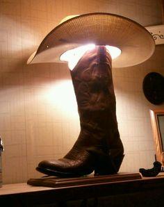 Cowboy boot lamp