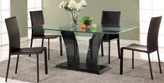 Dining Table W/Partially Frosted Glass Flair-Dt-Tb