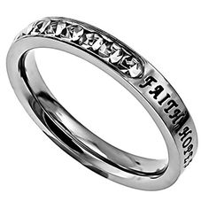Faith Hope Love 1 Corinthians 13 Ring, Christian Bible Verse, Stainless Steel (7) Sterling Silver And Steel http://www.amazon.com/dp/B0103XGYXU/ref=cm_sw_r_pi_dp_Ipibxb19DWJ73