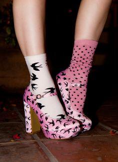 Doe Deere rocking Miu Miu heels and mismatched socks. #pink