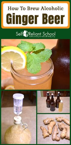 How to brew an alcoholic ginger beer at home - we show you the easy way and talk about some advanced tips as well. Beer Brewing Kits, Brewing Recipes, Beer Recipes, Alcohol Recipes, Easy Beer Recipe, Homebrew Recipes, Homemade Ginger Beer, Homemade Wine, Homemade Alcohol