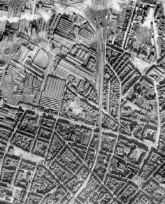 NOV 4 1944 RAF Bomber Command's last major raid on Bochum Vertical photographic-reconnaissance aerial of part of Bochum, Germany, prior to major attacks by aircraft of Bomber Command. The large factory at upper left is the Vereinigte Stahlwerke AG steelworks.
