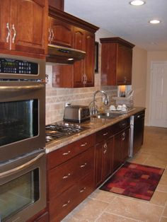 (similar cabinet color to the one we want. Galley Kitchen Design, Red Kitchen, Kitchen Colors, Kitchen Small, Kitchen Ideas, Kitchen Inspiration, Red Cabinets, Oak Kitchen Cabinets, Kitchen Flooring