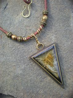 Triangular Earth Shaman Amulet Necklace by maggiezees on Etsy, $65.00