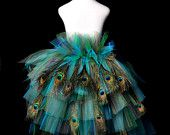 Peacock Feather Bustle Tutu...Halloween Peacock Costume, Pageant, Dance Recital...Girls sizes 5/6 to 14 . . . Golden Peacock with Feathers
