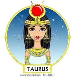 Zodiac sign Taurus. Fantastic princess, animation portrait. Background - a frame, the night star sky. Vector illustration isolated on white.