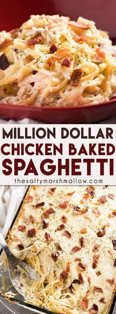 Million Dollar Chicken Spaghetti - The best ever chicken spaghetti that is easy to make! This mouthwatering chicken spaghetti casserole is rich and hearty, full of cream cheese, bacon, sour cream… New Recipes, Dinner Recipes, Cooking Recipes, Favorite Recipes, Healthy Recipes, Recipies, Casseroles Healthy, Family Recipes, Simple Recipes