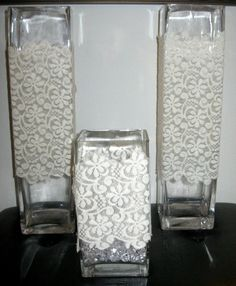 Lace Vase Sleeve Wrap DIY Wedding Centerpiece  by shopthetopshelf, $15.00