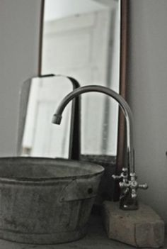 Sink made from galvanized tub.