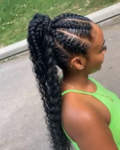 Black Girl Ponytails, Black Girl Braided Hairstyles, High Ponytail Hairstyles, Protective Hairstyles For Natural Hair, French Braid Hairstyles, African Braids Hairstyles, Braids For Black Hair, Girls Braids, Wig Hairstyles