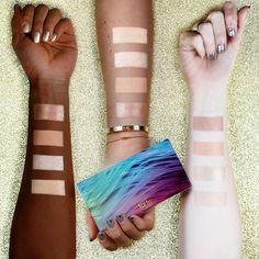 Swatches of our NEW skin twinkle lighting palette vol. II! Four brand spankin new shades to illuminate all skin tones! #tartecosmetics #tarteunderthesea