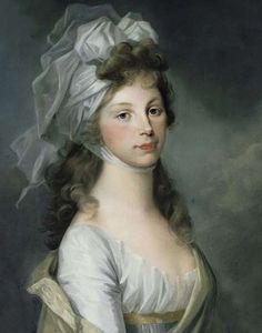 Louise wearing a simple chemise dress and elaborately tied transparent headscarf in a pastel miniature by Henriette Félicité Tassaert, after Tischbein, c.1797