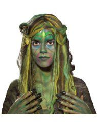 Swamp Queen Wig - This green, black and yellow wig is great for a witch, zombie or mutant costume. Swamp Queen, Swamp Creature, Monster Under The Bed, Monster Makeup, Plus Size Costume, Green Wig, Witch Makeup, Sea Witch, Water Witch