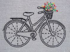 Designed and packaged by iHeartStitchArt, this bicycle embroidery pattern comes in a complete kit with thread and linen. The basket is brimful of bright and joy
