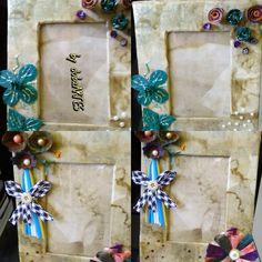 Porta retrato feito com papelao e filtro de cafe usado. Flores feitas com caixa de ovos, filtros de cafe tingidos, botao e canudos.