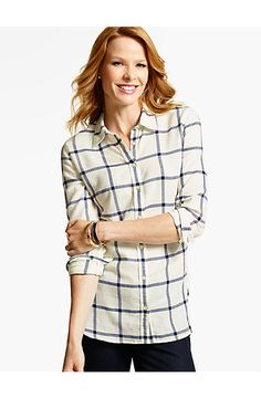 The Longer Casual Shirt - Windowpane Plaid - Talbots