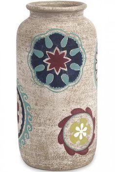 Nevis Hand-Painted Vase - Terra Cotta Vases - Hand-painted Vases - Painted Vases - Flower Vases | HomeDecorators.com