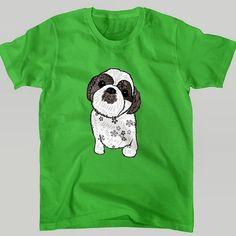 これは緑の半袖シャツ  #シーズー犬Shih Tzu西施犬の子供を描きました http://ift.tt/1JRZ43R  #suzurijp #suzuriで販売中