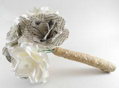 Paper Flower Bridal Bouquet, Paper Roses Wedding Flowers