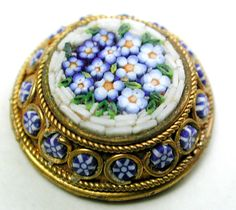 Antique Micro Mosaic Glass Button Gorgeous Flowers Design in Brass - 5/8""
