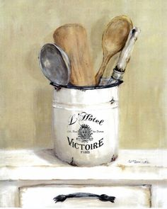 French Cooking Utensils - Postage is included Australia Wide Picture Transfer To Wood, Picture On Wood, Farmhouse Kitchen Decor, Kitchen Art, Decorative Painting Projects, Gift Card Printing, Still Life Drawing, Cottage Art, Stencil