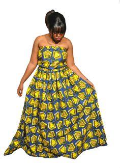 African Print Maxi dress  Plus size maxi by KwanzaInspiration, $98.00