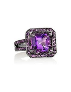 Solange Azagury-Partridge Cup blackened white gold amethyst ring at ShopStyle Purple Jewelry, Amethyst Jewelry, I Love Jewelry, Jewelry Shop, Gold Jewelry, Jewelry Rings, Amethyst Rings, Amethyst Stone, Summer Jewelry