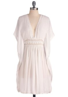 Moonlight of My Life Dress - Mid-length, White, Solid, Crochet, Trim, Empire, Short Sleeves, Casual, Boho, Summer