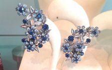Vintage Huge  1950's Clip Flower Leaf Earrings Sapphire & Baby  Blue Rhinestones
