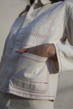 Caron Callahan Krasner Jacket in Ivory Denim Outdoor Wear, Denim Trends, Work Shirts, Mom Outfits, Fashion Images, Denim Fashion, Spring Summer Fashion, Work Wear, Style Inspiration