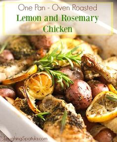 Rosemary Lemon Baked Chicken with Potatoes - Toss it all together in one pan and dinner is done!
