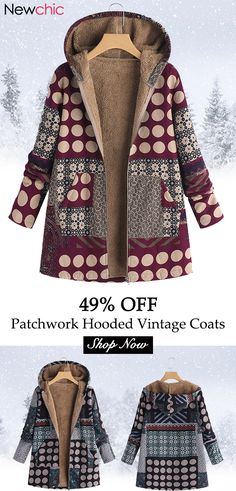 756213c5515 Polka Dot Print Patchwork Hooded Vintage Coats. Polka Dot Print
