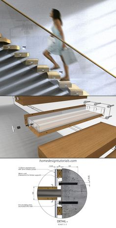 Staircases are a lot of fun. That is, even though the design process is strictly regulated by the building code, it can be the perfect opportunity to flex your creative muscles. But how exactly do you design a cantilevered staircase? Railing Design, Staircase Design, Staircase Ideas, Stair Design, Cama Design, Cantilever Stairs, Stair Detail, Floating Staircase, Building Code