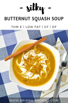 This Silky Butternut Squash Soup is my THM-friendly version of Panera Breads Autumn Squash Soup! Enjoy it in a THM E meal and soak up the healthy dose of orange vegetables! Low fat no sugar added gluten free egg free dairy free and nut free options. Panera Autumn Squash Soup, Dairy Free, Nut Free, Gluten Free, Tree Nut Allergy, Healthy Carbs, Healthy Life, Healthy Snacks, Healthy Eating