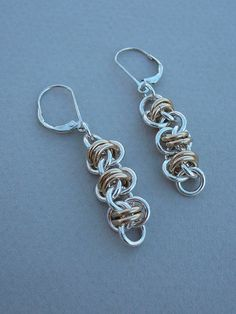 Chain maille earrings sterling silver and gold fill